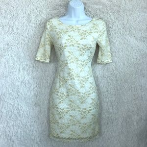 Floral Lace Dress Ivory Bodycon Glitter Forever 21